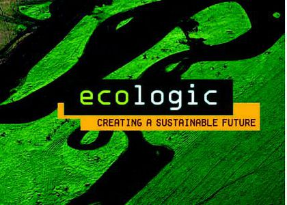 Black and green title page of book named Ecologic- Creating a Sustainable Future.