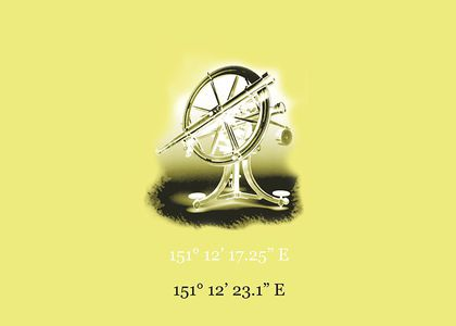A telescope with wheel against a yellow background
