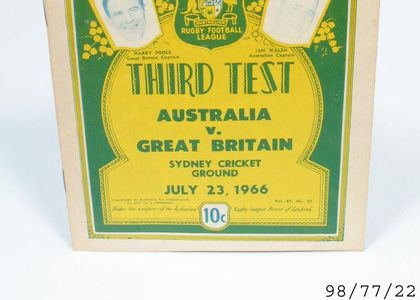 Printed program of the Rugby League News text Thirds test Australia v. Great Britain Sydney Cricket ground July 23. 1966