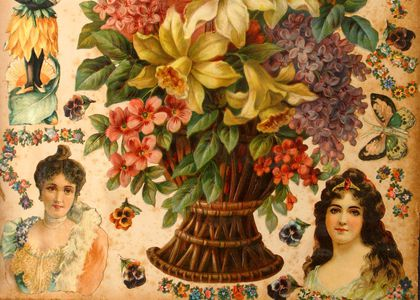 Victorian scrapbook showing floral bouquets and young women