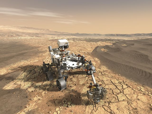 Artist's concept of NASA's Mars 2020 rover on the surface of Mars.
