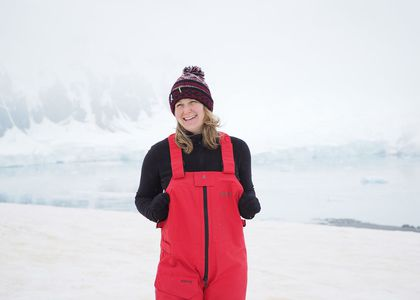 Curator Nina Earl takes her first steps on the Antarctic continent.