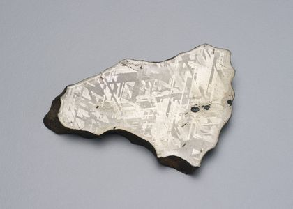 An image of a thing slice of a metallic, silvery rock against a grey background.