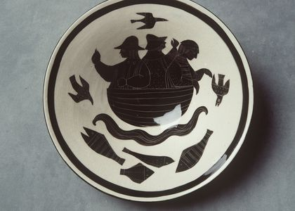 Earthenware bowl by David and Hermia Boyd black and white image of three men fishing in a boat