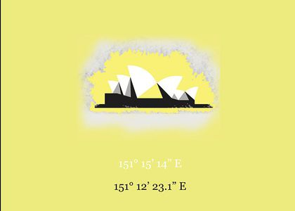Illustration of Sydney Opera House against a yellow background