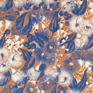 Cropped detail of a gouache on paper textile design by Shirley de Vocht (c. 1945-1948) featuring blue gum leaves, blue and white gum blossoms and gum nuts on a tan background.
