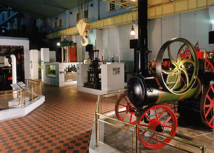 Steam Revolution exhibition space showing a locomotive and other objects from the collection