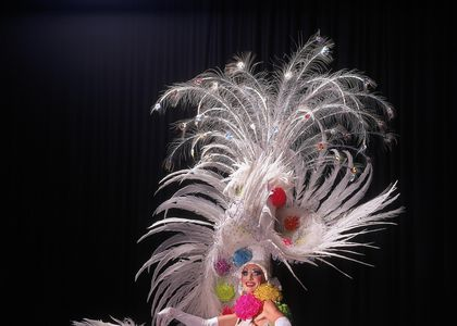 Flamboyant Mardi gras costume with large feather head piece, fan and mermaid dress with big colourful pom poms