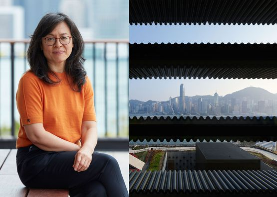 Woman sitting outside in Hong Kong with orange shirt split screen with landscape
