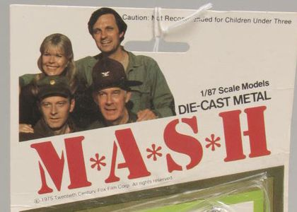 Detail of cast of M*A*S*H from toy packaging, 1978