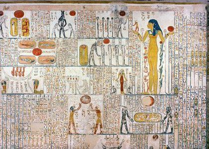 """A section from the """"Book of the Caverns"""" - a modern title given to one of the ancient cosmographic texts from the New Kingdom, belonging to the tomb of Ramesses V. Attribution: See page for author [Public domain], via <a href=""""https://commons.wikimedia.org/wiki/File%3ABook_of_caverns_(KV9)_fifth_division.jpg""""> Wikimedia Commons</a>"""