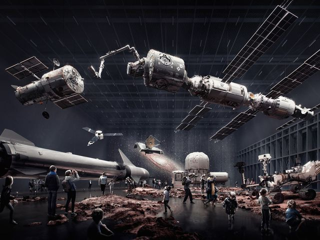 Interior artist render of people viewing satellites, rockets and rovers at the Powerhouse Parramatta.