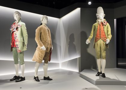 Photograph of the Macaroni Ensemble Suit on display