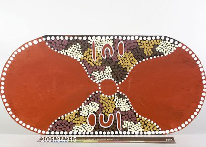 Coolamon, wood/acrylic paint, crafted by Gavin Flick and Jai Rose, painted by Alanna Rose