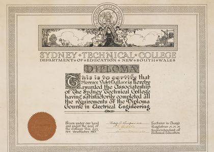 Electrical Engineering Diploma, awarded to Miss Florence Violet Wallace