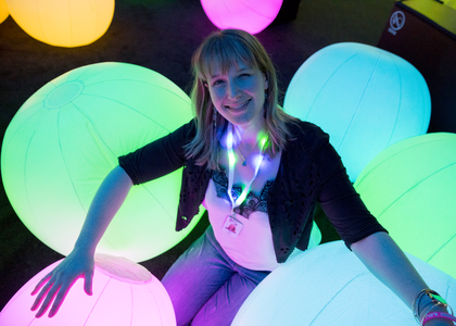 Photograph of Nina Earl in Light Ball Orchestra in Future Park exhibition
