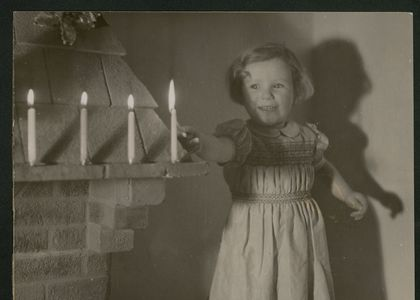 1946 Christmas card. small child with candles