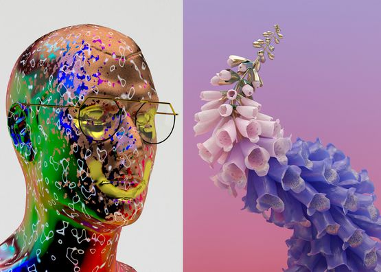 3D digital artwork of rainbow coloured head with pink and purple flower.