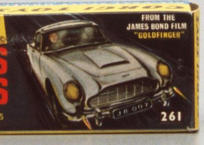 Illustration of James Bond in Aston Martin with the Text