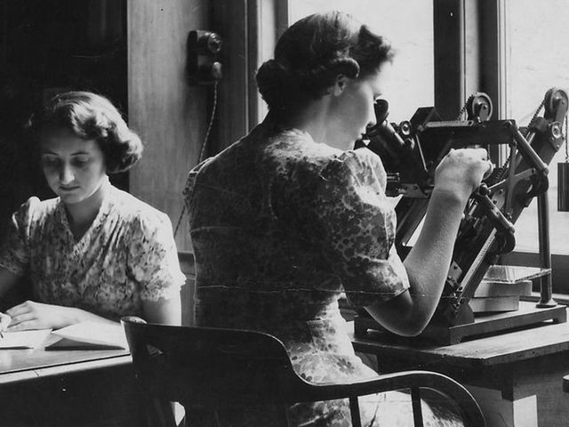Photograph, Mary Allen and Ethel Wilcocks measuring astrographic plates, silver gelatin print, photographed by Waterford, 6th February 1941.