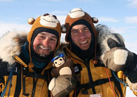 Monkey beanies worn by James Castrission and Justin Jones, Crossing the Ice Antarctic expedition, 2011 to 2012. Powerhouse Collection.