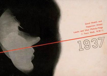 New Year's card, Laszlo and Sibyl Moholy-Nagy to Dahl and Geoffrey Collings, 1937