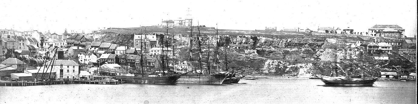 A view of Observatory Hill in the 1850s from Balmain showing how visible the Observatory was.