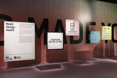 View of exhibition, signs with explanations on them