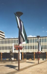 Banners in WSPU colours outside the ACT Legislative Assembly 2005. Photo: Marian Sawer