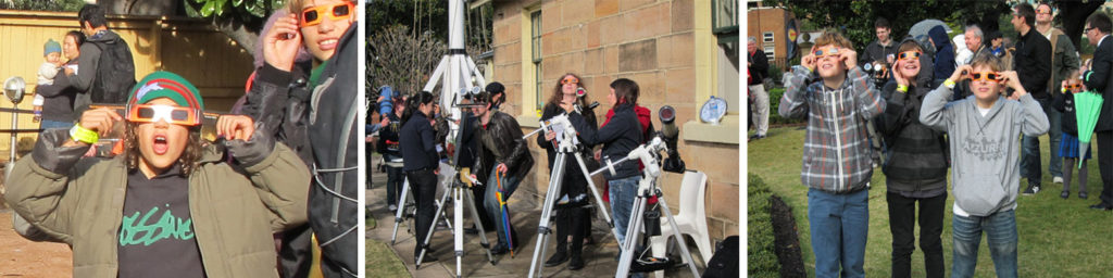 3 photographs of children watching the 2012 Transit of Venus from Sydney Observatory.