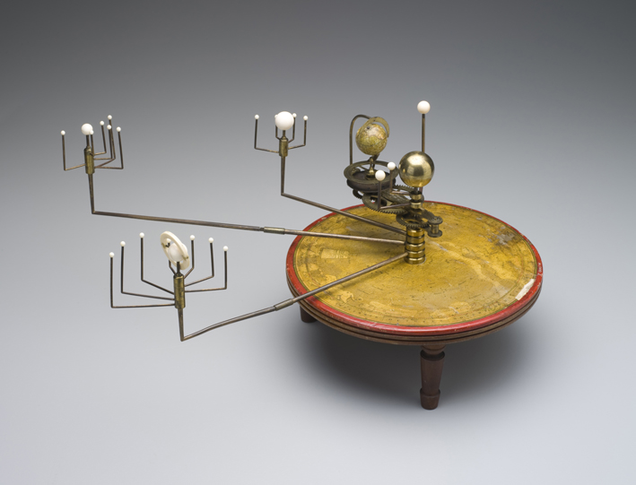 A model showing where our galaxy's planets and moons are in relation to the Sun.