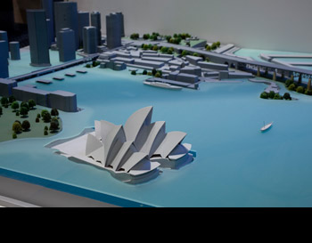 Sea levels will rise as ice sheets melt and oceans expand. This will affect billions of people around the world. A model of Sydney Opera House and Circular Quay showing which parts would be under water if the sea level rose by 10 metres.