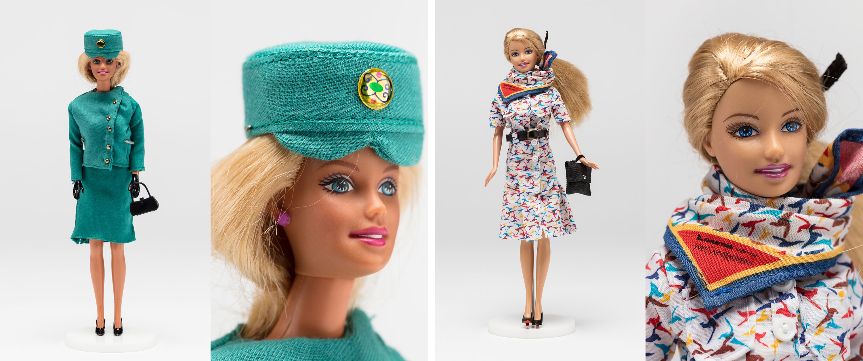 Barbie dolls wearing outfits inspired by1971–2010QANTAS uniforms.