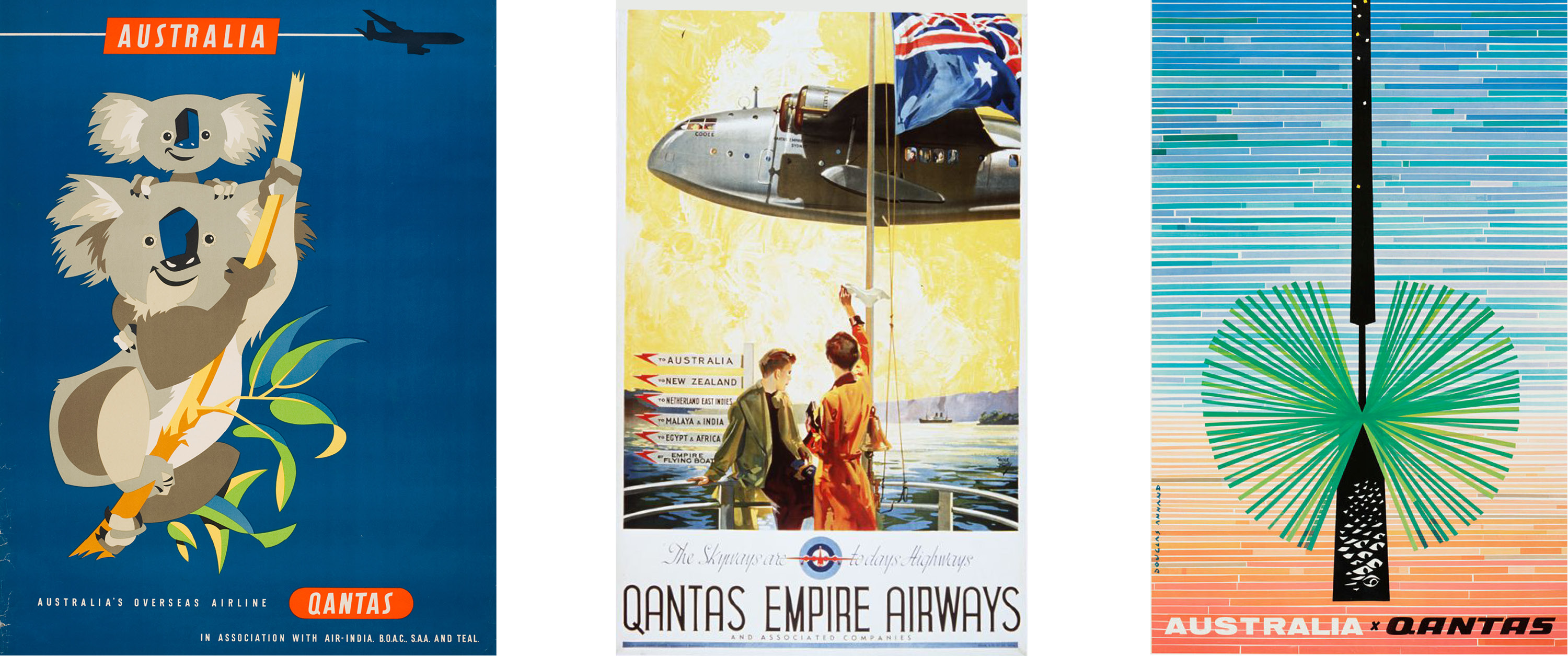 Qantas travel posters Harry Rogers about 1965, Walter Jardine, 1939 and Douglas Annand, 1971-72