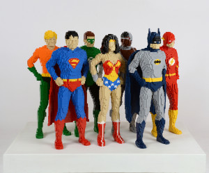 Lego figures of The Justice League from The Art of the Brick: DC Comics