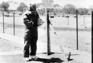 Protective clothing being worn at the Maralinga site, South Australia, 1950s, National Archives of Australia collection, A6457, P214