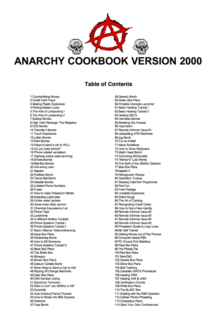 Title and cover of the Anarchy Cookbook Version 2000