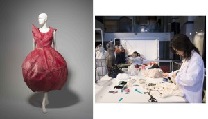 Left: Dress designed by Masahiro Nakagawa and Azechi Lica, Japan, 1999, MAAS collection, 2005/195/1. Right: The Recycle Project in progress at MAAS in 2007