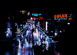 William Street, Sydney, at night, 1969, 35mm film negative. Photo by David Mist, 1969, MAAS collection.