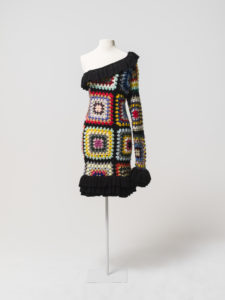 Crocheted dress designed and made by Anna Plunkett and Luke Sales of Romance Was Born. It was worn by Cate Blanchett in Melbourne in 2009, MAAS Collection.