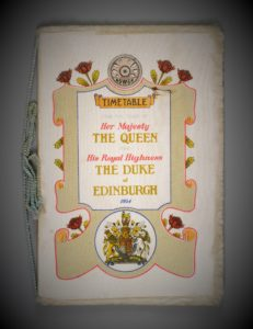 1954 Royal Tour railway timetable, NSWGR, used on the Governor-General's carriage, 1954.