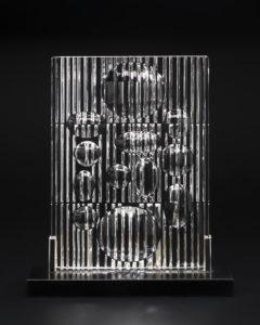 Erebus Op Art glass sculpture designed by Victor Vasarely, France, 1982.