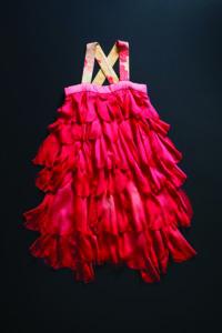 Handpainted red silk chiffon dress