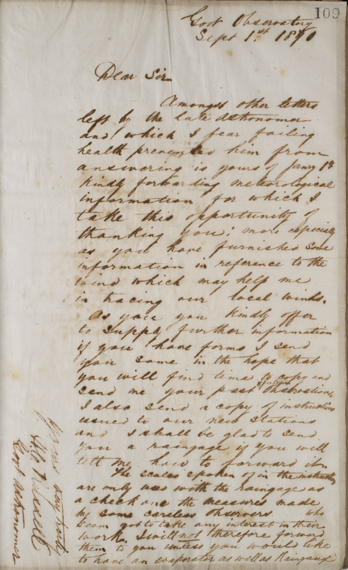 Letter by H C Russell, 1 September 1870