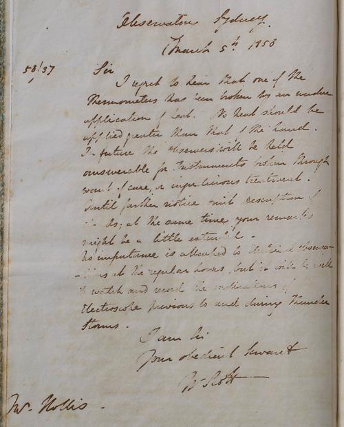 Letter by W Scott, 5 March 1858