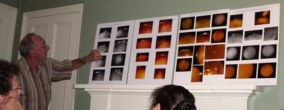 Monty Leventhal in full flight talking about his solar images. Image Nick Lomb on 2 May 2005