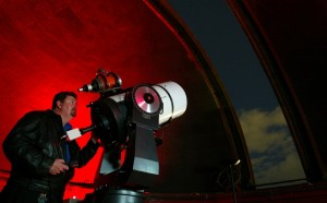 Geoff Wyatt operating the telescope in the north dome