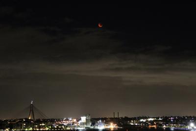 Blood Moon and ANZAC Bridge