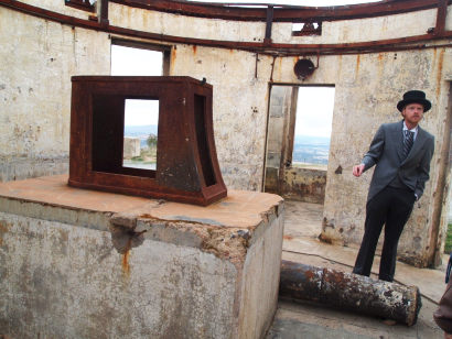 Heritage tour guide, James Collet, in the still-to-be-restored building