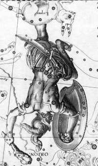 The constellation of Orion with the correct orientation. Drawing by Johannes Hevelius in his 1690 star atlas